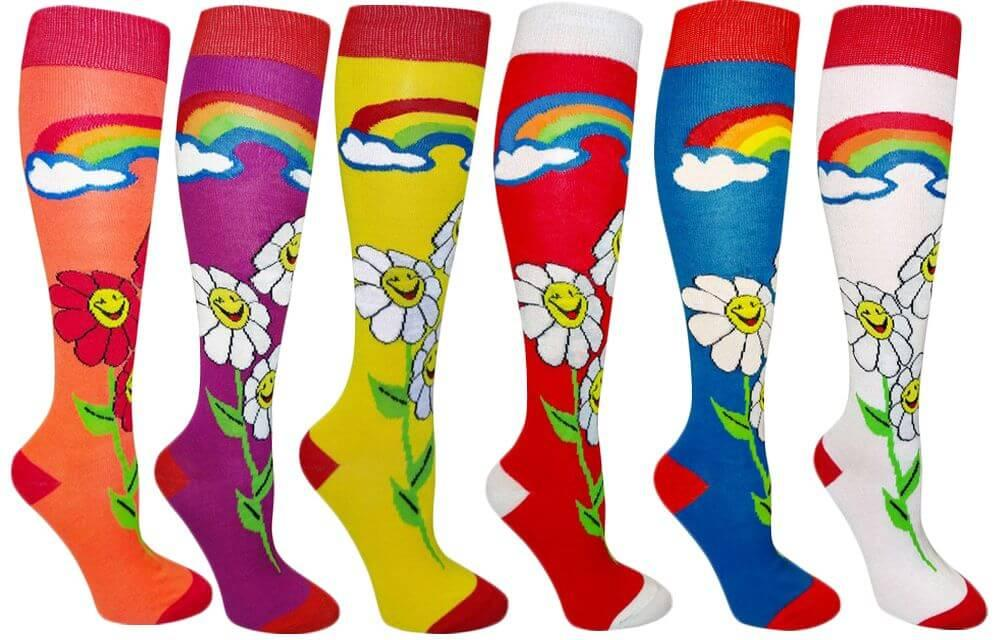 Smile Flower Women's Fancy Design Multi Colorful Patterned Knee High Socks ( 6 Pairs)