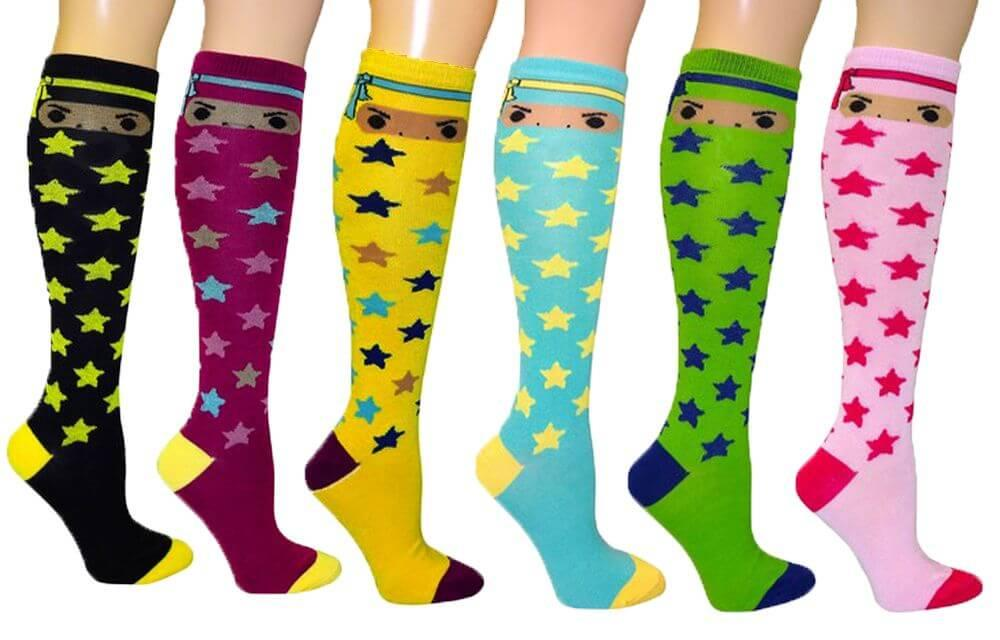 Ninja / Stars Women's Fancy Design Multi Colorful Patterned Knee High Socks( 6 Pairs)