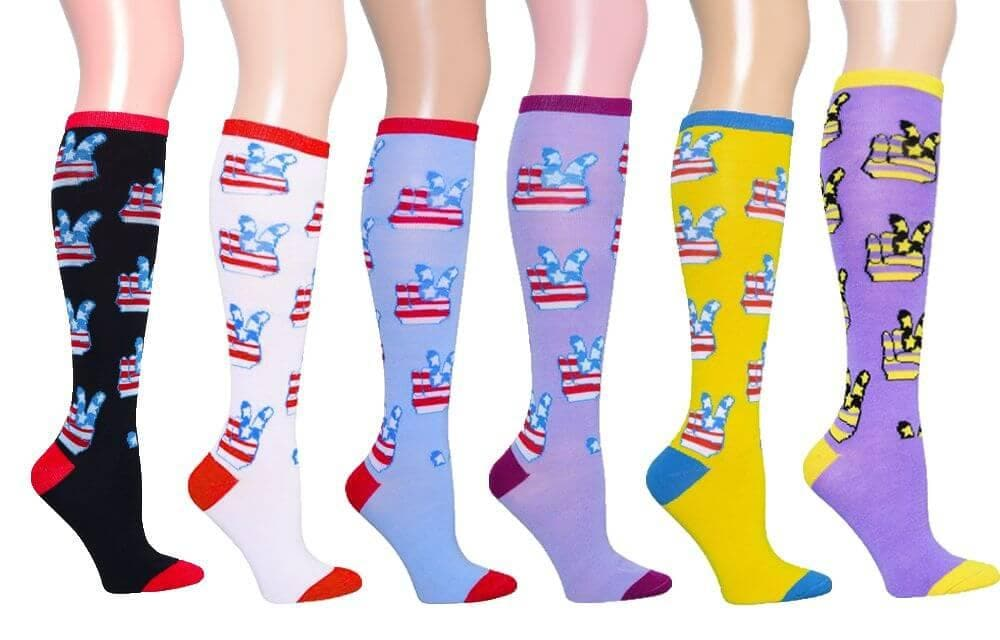 Peace Symbol Women's Fancy Design Multi Colorful Patterned Knee High Socks ( 6 Pairs)