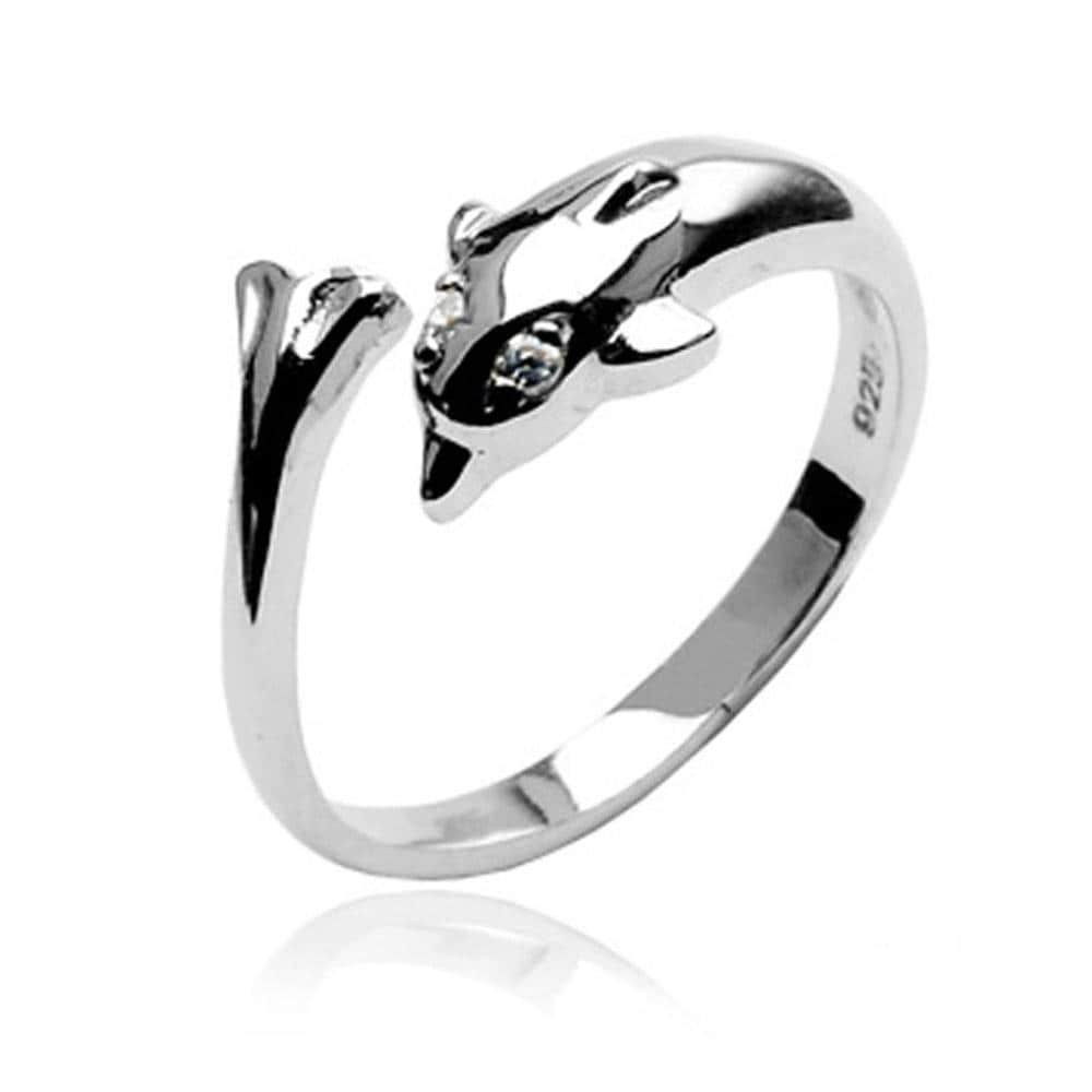 .925 Sterling Silver Dolphin Toe Ring With Cubic Zirconia