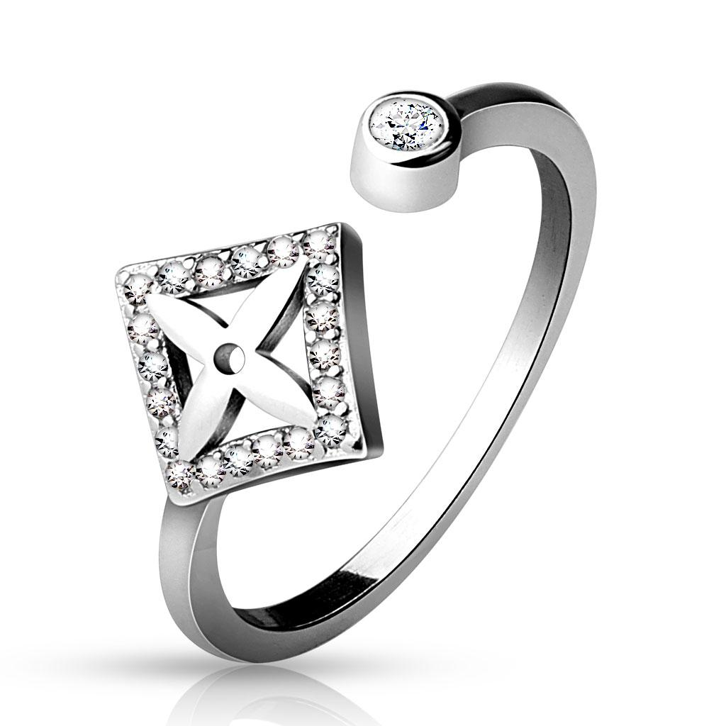 .925 Sterling Silver CZ Paved Dia Shape with Cross Center and Round CZ End Adjustable Toe Ring