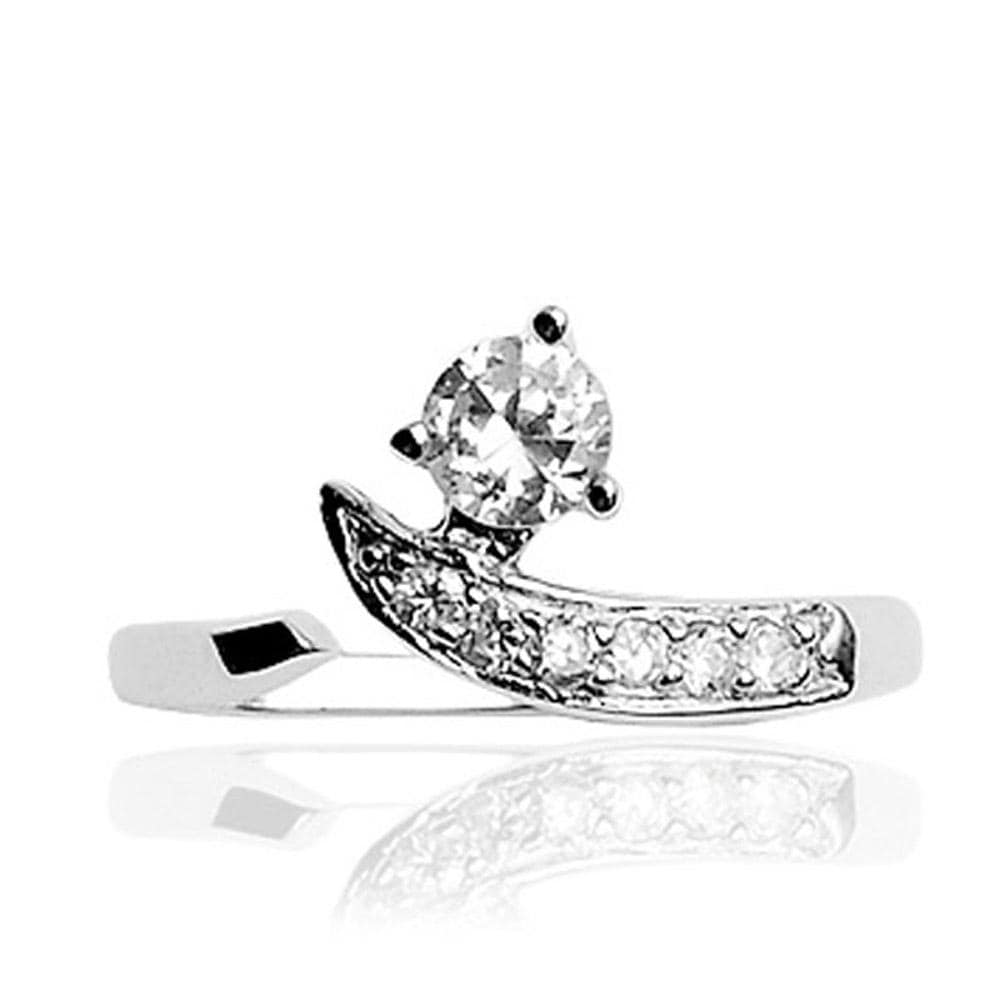 .925 Sterling Silver Solitaire Cubic Zirconia Toe Ring