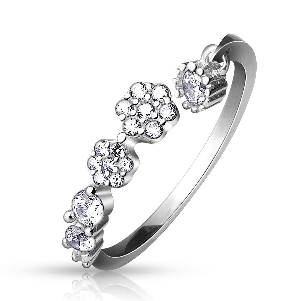 .925 Sterling Silver CZ Paved Flowers and Round CZ Dangle Adjustable Toe Ring
