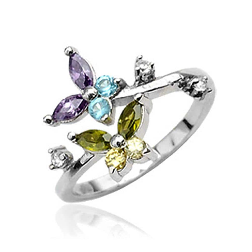 .925 Sterling Silver Cubic Zirconia Butterfly Toe Ring