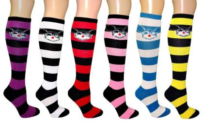 Anime Skull / Striped Women's Fancy Design Multi Colorful Patterned Knee High Socks( 6 Pairs) - Thumbnail 0