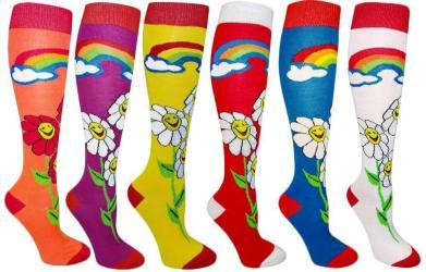 Smile Flower Women's Fancy Design Multi Colorful Patterned Knee High Socks ( 6 Pairs) - Thumbnail 0
