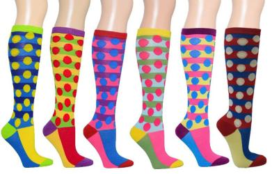 Polka Dots Women's Fancy Design Multi Colorful Patterned Knee High Socks( 6 Pairs) - Thumbnail 0