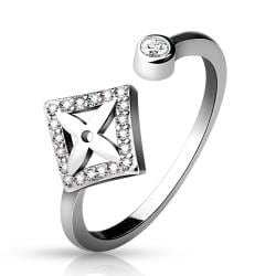 .925 Sterling Silver CZ Paved Dia Shape with Cross Center and Round CZ End Adjustable Toe Ring - Thumbnail 0