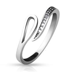 .925 Sterling Silver Adjustable Toe Ring with Lined CZ