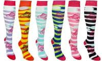 Fish Women's Fancy Design Multi Colorful Patterned Knee High Socks( 6 Pairs)