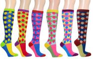 Polka Dots Women's Fancy Design Multi Colorful Patterned Knee High Socks( 6 Pairs)