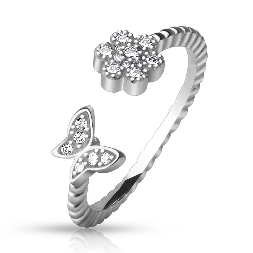 .925 Sterling Silver CZ Paved Flower and Butterfly Adjustable Toe Ring