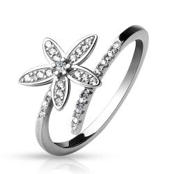.925 Sterling Silver Double Lined CZ with CZ Paved 5 Petal Flower Adjustable Toe Ring