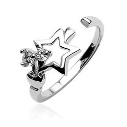 .925 Sterling Silver Star With Cubic Zirconia Toe Ring