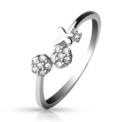.925 Sterling Silver Adjustable Toe Ring with CZ Set Flowers and Butterfly