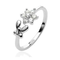 .925 Sterling Silver Butterfly & Cubic Zirconia Flower Toe Ring