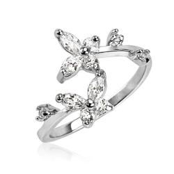 .925 Sterling Silver Clear CZ Butterfly Toe Ring
