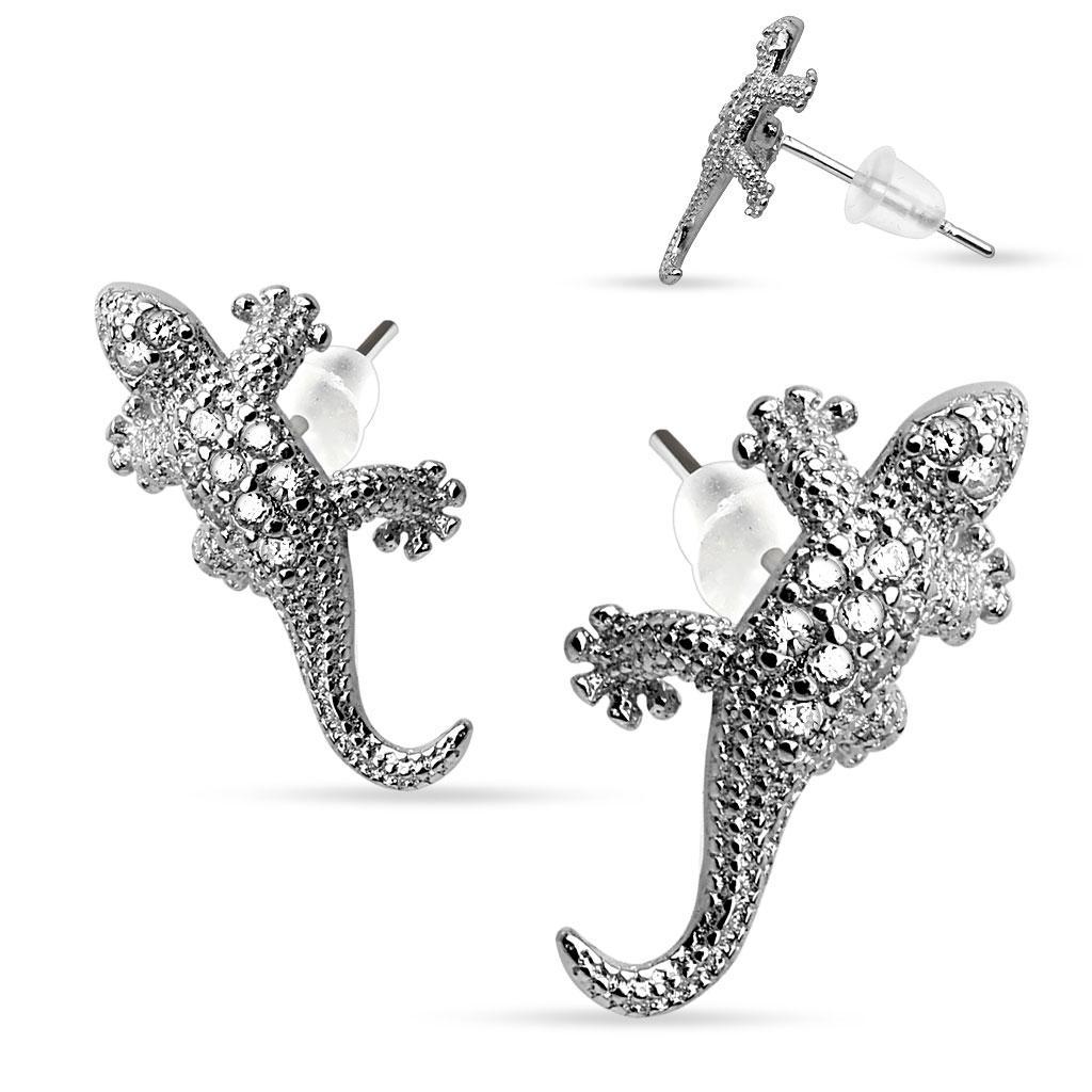 Pair of .925 Sterling Silver Multi Paved Gems Lizard Stud Earrings