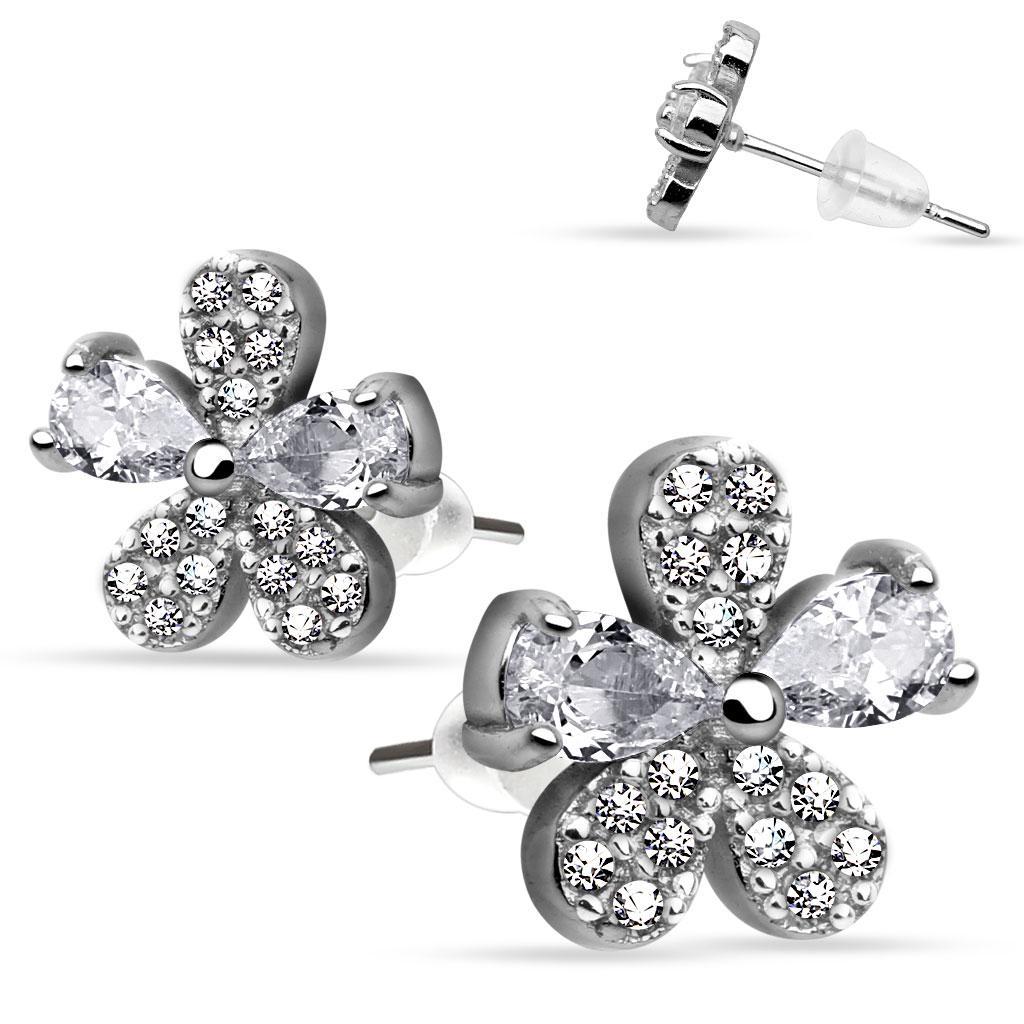 Pair of .925 Sterling Silver Multi Paved Gem Flower CZ Stud Earrings