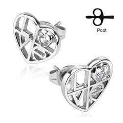 Pair of .925 Sterling Silver 'LOVE' Cutout Heart Stud Earrings - Thumbnail 0