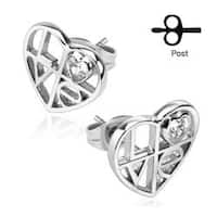 Pair of .925 Sterling Silver 'LOVE' Cutout Heart Stud Earrings