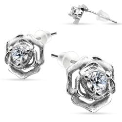 Pair of .925 Sterling Silver Rose with CZ in middle Stud Earrings - Thumbnail 0