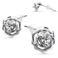 Pair of .925 Sterling Silver Rose with CZ in middle Stud Earrings