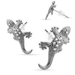 Pair of .925 Sterling Silver Multi Paved Gems Lizard Stud Earrings - Thumbnail 0