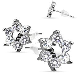 Pair of .925 Sterling Silver Center Star Flower w/ CZ Shard Petals Stud Earrings - Thumbnail 0