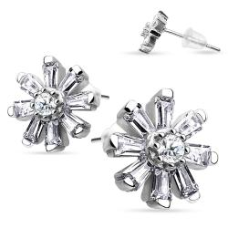 Pair of .925 Sterling Silver Multi CZ Flower Stud Earrings - Thumbnail 0