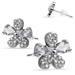Pair of .925 Sterling Silver Multi Paved Gem Flower CZ Stud Earrings - Thumbnail 0