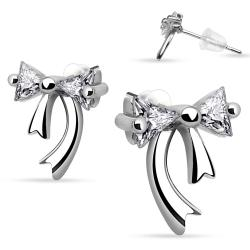 Pair of .925 Sterling Silver Double Gem Ribbon Stud Earrings - Thumbnail 0