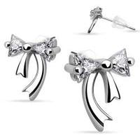 Pair of .925 Sterling Silver Double Gem Ribbon Stud Earrings