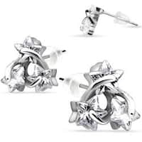 Pair of .925 Sterling Silver Three Wired CZ Star Stud Earrings