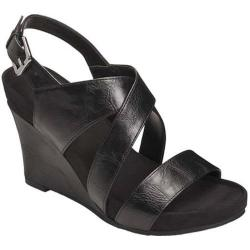 Women's A2 by Aerosoles True Plush Wedge Sandal Black Faux Leather