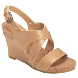 Women's A2 by Aerosoles True Plush Wedge Sandal Nude Faux Leather