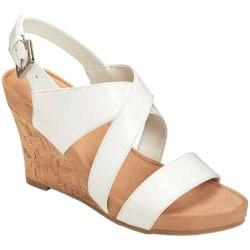 Women's A2 by Aerosoles True Plush Wedge Sandal White Faux Leather