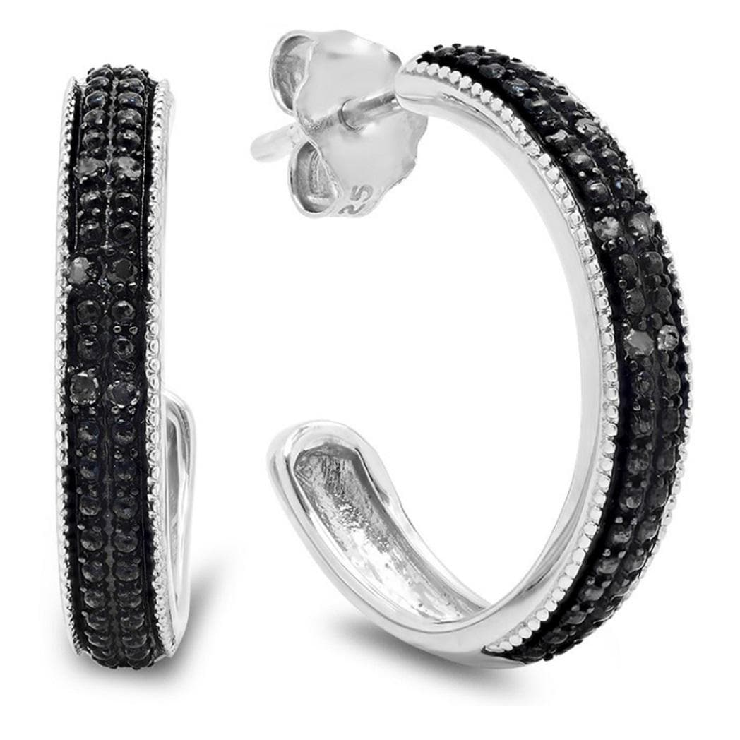 Amanda Rose Collection 1/10ct tw Black Diamond Hoop Earrings in Sterling Silver