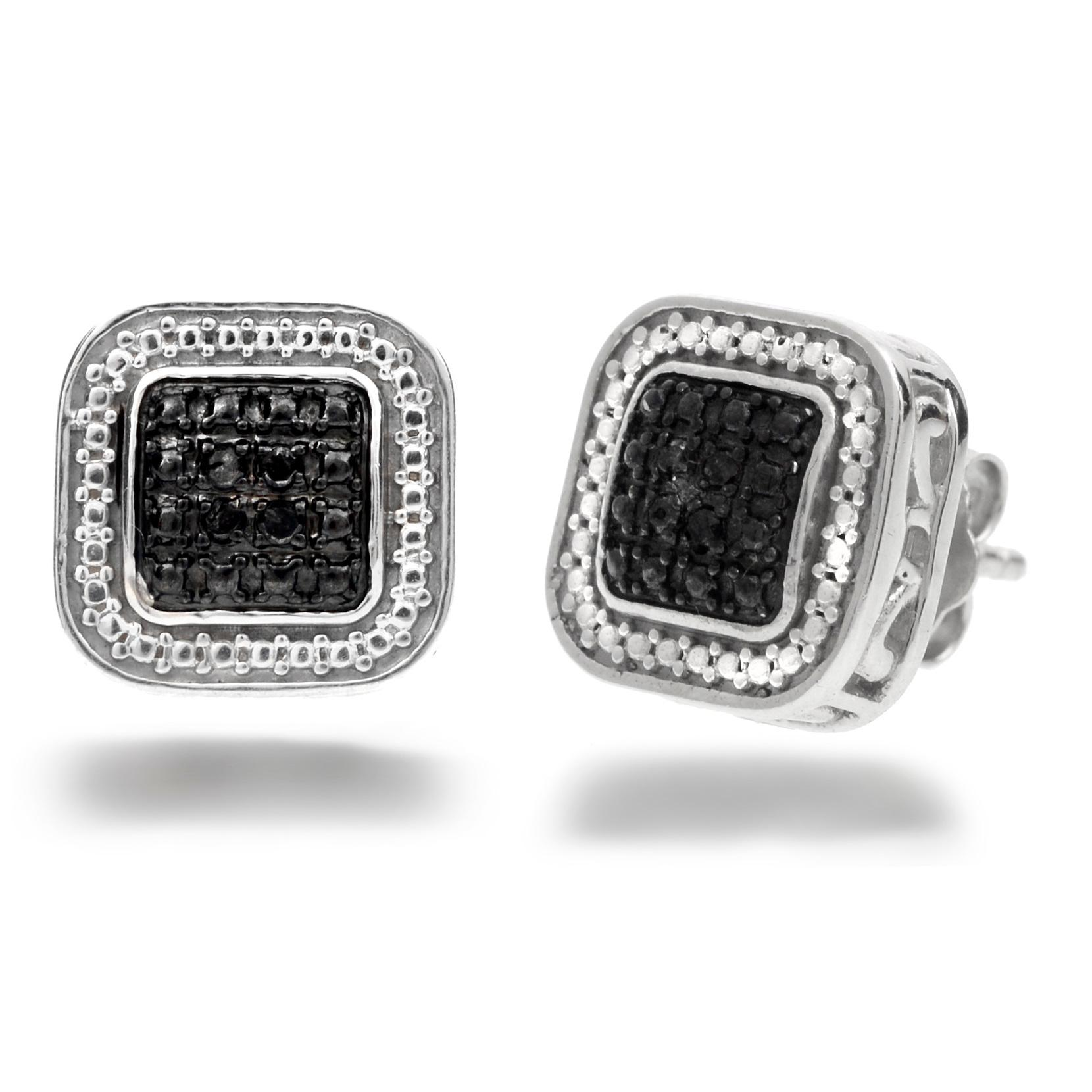 Amanda Rose Collection 1/10ct tw  Black Diamond Stud Earrings in Sterling Silver