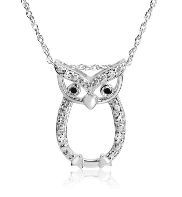 Amanda Rose Collection Black and White Diamond Owl Pendant-Necklace in Sterling Silver