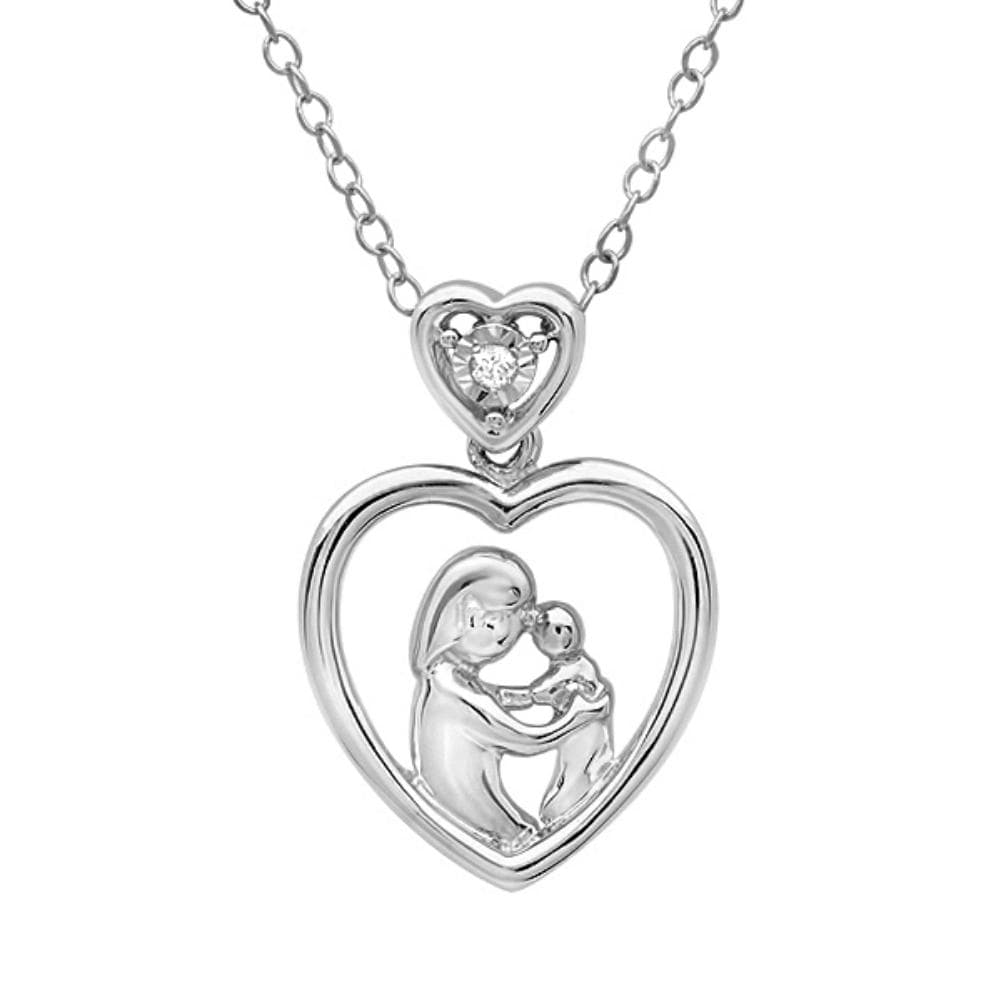 Amanda Rose Collection Mother with Child Diamond heart pendant in Sterling Silver