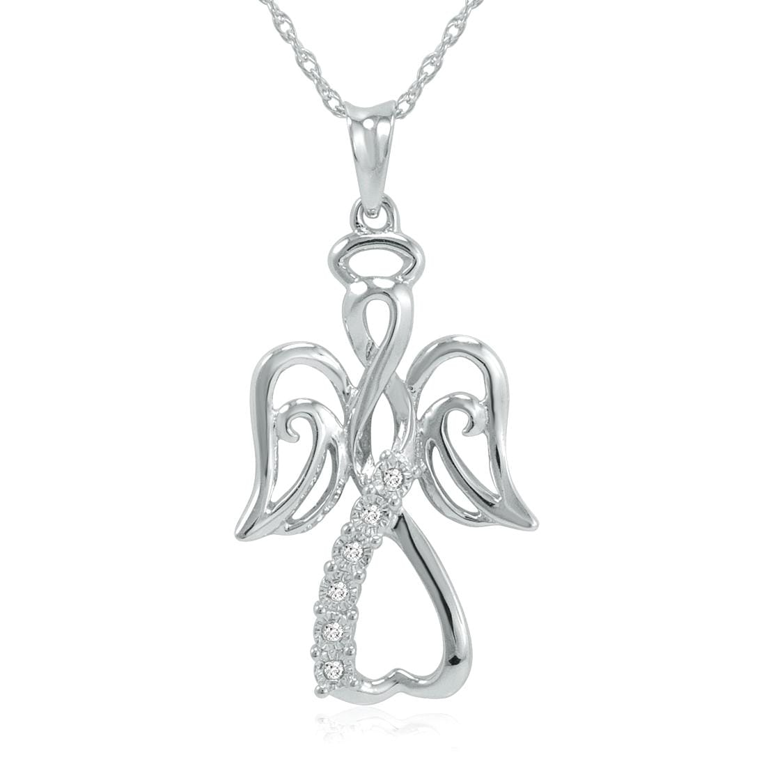 Amanda Rose Collection Diamond Angel Necklace in Sterling Silver