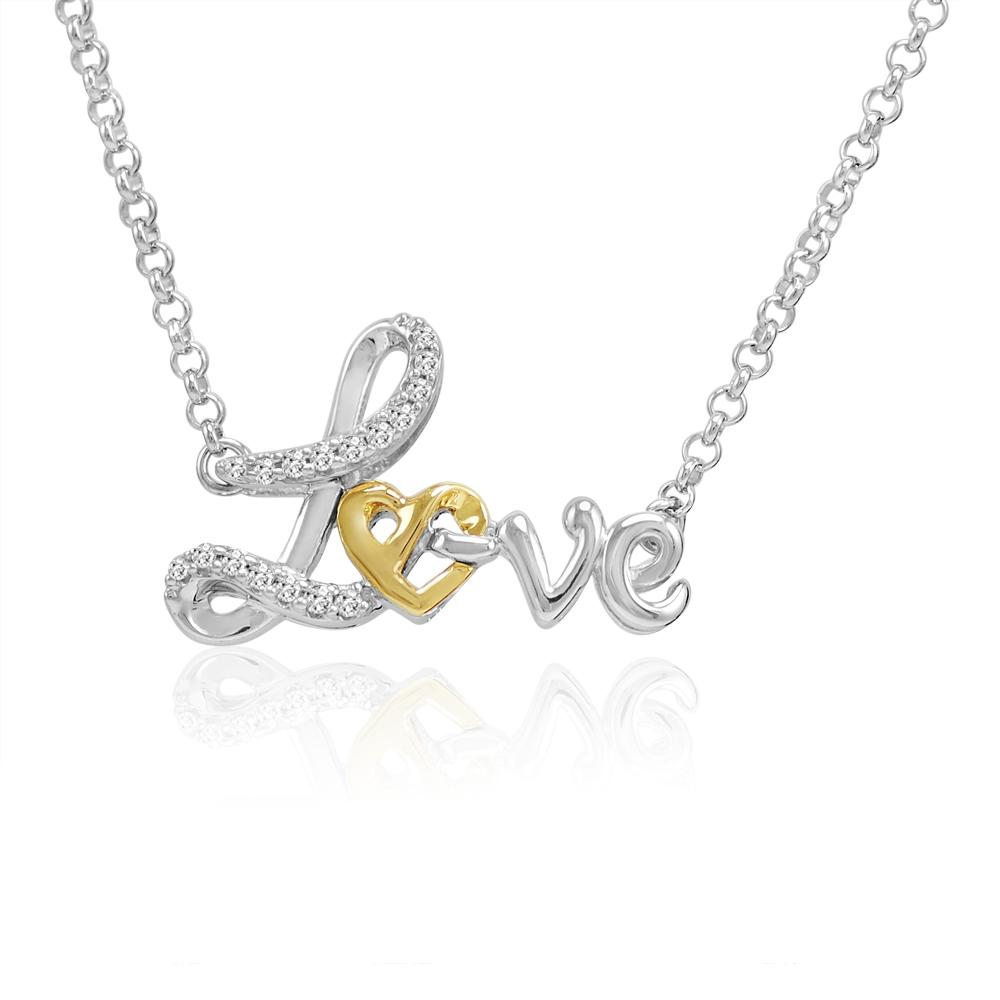 Amanda Rose Collection Sterling Silver and 14K Gold Heart in Love Diamond Necklace (1/10ct tw 17 inch)