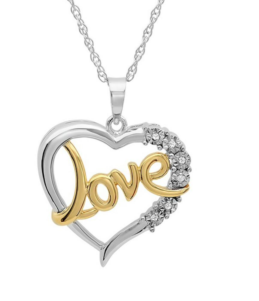 Amanda Rose Collection Love in Heart Diamond Pendant Necklace in Sterling Silver
