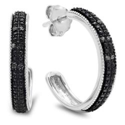 Amanda Rose Collection 1/10ct tw Black Diamond Hoop Earrings in Sterling Silver - Thumbnail 0
