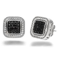 Amanda Rose Collection 1/10ct tw Black Diamond Stud Earrings in Sterling Silver - Thumbnail 0