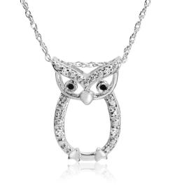 Amanda Rose Collection Black and White Diamond Owl Pendant-Necklace in Sterling Silver - Thumbnail 0