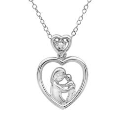 Amanda Rose Collection Mother with Child Diamond heart pendant in Sterling Silver - Thumbnail 0