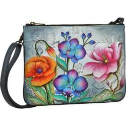 Women's Anuschka Hand Painted Triple Compartment Crossbody Floral Fantasy