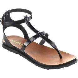 Women's Beston Chic-01 Thong Sandal Black PVC